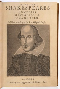 The Arundel First Folio - Engraving of William Shakespeare by Martin Droeshout © the Governors of Stonyhurst College.