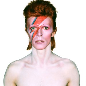 """Album Cover Shoot for Aladdin Sane""  (1973) Photograph by Brian Duffy, Design by Brian Duffy and Celia Philo, Make up by Pierre La Roche © Duffy Archive"