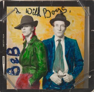 """David Bowie and William Burroughs"" (1974) Photograph by Terry O'Neill. Hand colouring by David Bowie, Courtesy of The David Bowie Archive 2012, © V&A Museum Images"