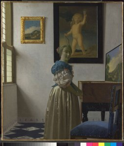 Johannes Vermeer, A Young Woman standing at a Virginal (about 1670-2) © The National Gallery, London