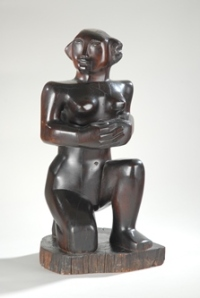 Barbara Hepworth, Kneeling Figure (1932) Rosewood. Courtesy of Wakefield Permanent Art Collection © Bowness, Hepworth Estate/Photograph: Norman Taylor