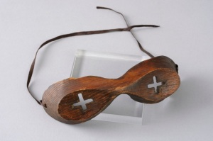 Snow goggles, Wooden Inuit goggles. Used during the Discovery expedition, 1901–04 © Scott Polar Research Institute