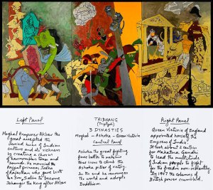 M.F. Husain, Three Dynasties, 2008-2011. Courtesy of Usha Mittal, © Victoria and Albert Museum, London