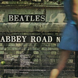 Back cover of The Abbey Road album by The Beatles, copyright Ian MacMillan