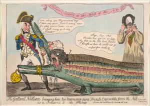 The Gallant Nelson Bringing Home Two Uncommon Fierce French Crocodiles, 1798, Isaac Cruikshank (1764 - 1811), London, Hand-coloured etching on paper © The Trustees of the British Museum