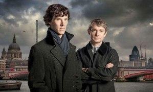 Benedict Cumberbatch and Martin Freeman, from Sherlock, BBC series,  exhibition Museum of London