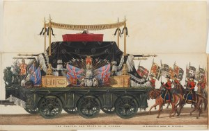 Detail of Panoramic View of the Entire Funeral Procession of Arthur, Duke of Wellington, the panel showing the Funeral Carriage by Samuel Henry Gordon Alken and George Augustus Sala, 1853 © National Portrait Gallery, London