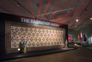 Installation view of The Fabric of India exhibition at the V&A  Victoria and Albert Museum London