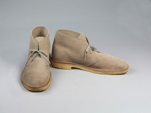 Clarks, Desert boots light brown suede, 1994, © V&A Museum London.