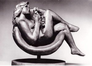 Tebe in an Armchair by Giacomo Manzù, 1980, bronze © Estorick Collection, London