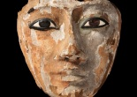 Wooden face with inlaid eyes, originally part of a coffin, Third Intermediate Period, Dynasty 22 (945 - 715 BC), possibly from excavations at Abydos, co. Two Temple Place and Baghshaw Museum (Kirklees Council) © Two Temple Palace, London.