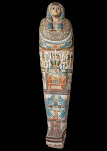 Cartonnage mummy case for the chantress, Shebmut. Third Intermediate Period, Dynasty 22 (945 - 715 BC). Unprovenanced; Macclesfield Museum © Two Temple Palace, London.