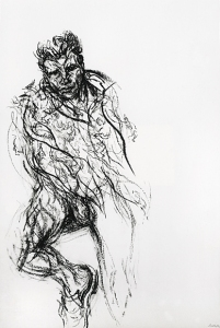 Sebastian in a Hermes scarf, 2004. Charcoal on paper. 152.4 x 101.6 cm © Maggi Hambling; ph. Douglas Atfield, co. The British Museum, London